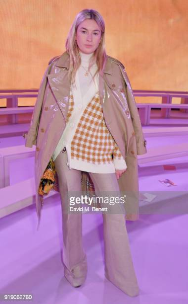 Camille Charriere attends the Mulberry 'Beyond Heritage' SS18 Presentation during London Fashion Week February 2018 at Spencer House on February 16...