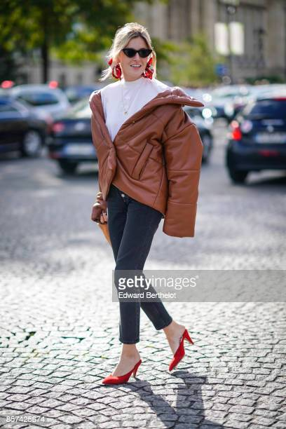 Camille Charriere outside Chanel during Paris Fashion Week Womenswear Spring/Summer 2018 on October 3 2017 in Paris France