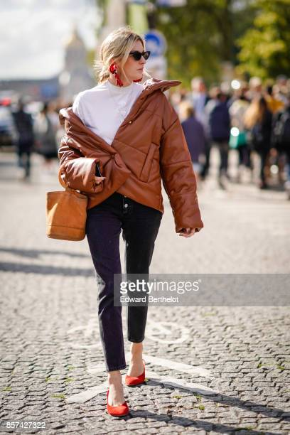 Camille Charriere, outside Chanel, during Paris Fashion Week Womenswear Spring/Summer 2018, on October 3, 2017 in Paris, France.