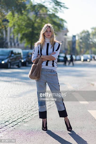 Camille Charriere outside Chanel on October 4 2016 in Paris France