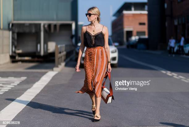 Camille Charriere outside Stine Goya on August 09 2017 in Copenhagen Denmark