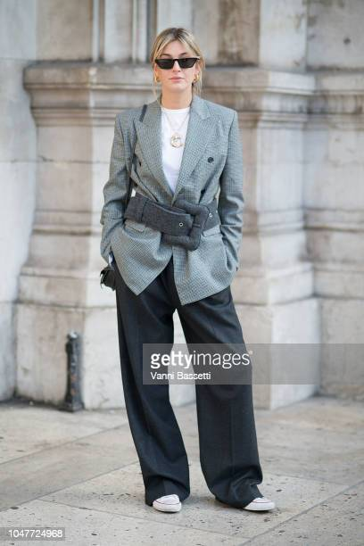 Camille Charriere poses after the Stella McCartney show at the Opera Garnier during Paris Fashion Week SS19 Womenswear on October 1 2018 in Paris...