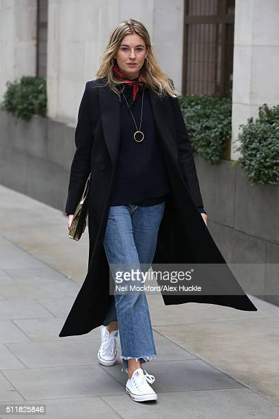 Camille Charriere seen in Converse trainers on her way to Marques'Almeida AW16 Catwalk show on February 23 2016 in London England