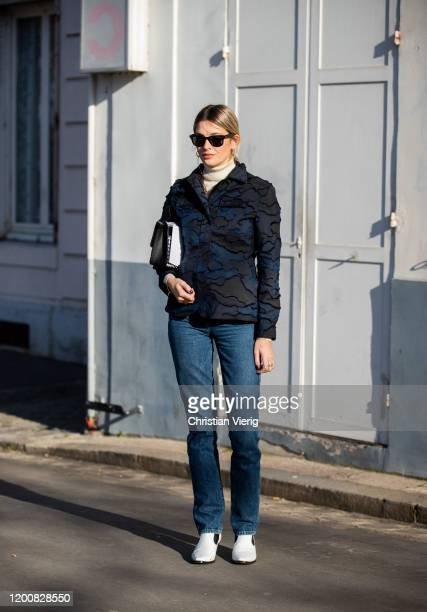 Camille Charriere seen wearing denim jeans top outside Dior during Paris Fashion Week Haute Couture Spring/Summer 2020 on January 20 2020 in Paris...