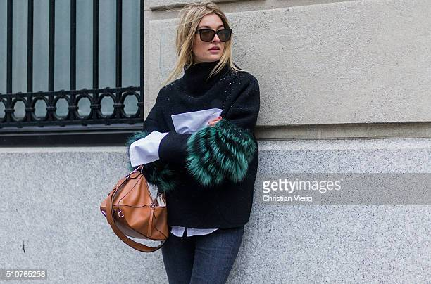 Camille Charriere wearing a borwn Loewe bag a Saks Potts jacket a white Anna Quan shirt seen outside Tommy Hilfiger during New York Fashion Week...
