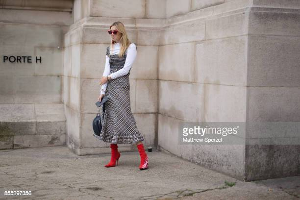 Camille Charrire is seen attending Paco Rabanne during Paris Fashion Week wearing Balenciaga Ganni on September 28 2017 in Paris France