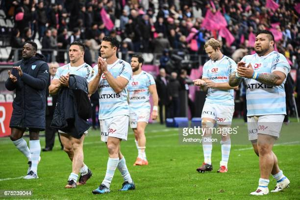 Camille Chat Dan Carter and Ben Tameifuna of Racing 92 during the French Top 14 match between Stade Francais and Racing 92 at Stade Jean Bouin on...