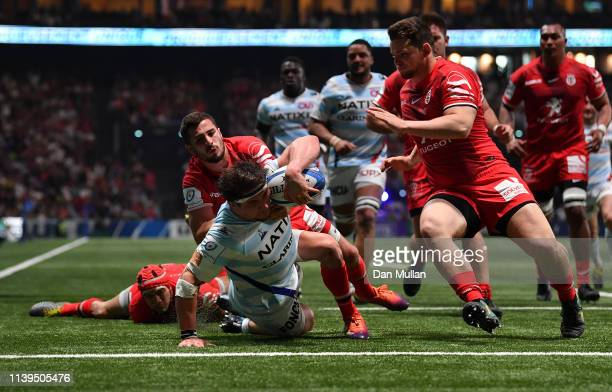 Camille Chat of Racing 92 dives over to score his side's second try during the Heineken Champions Cup Quarter Final match between Racing 92 and...