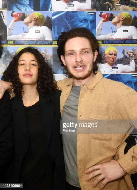 Camille Constantin and Rap artist Nelson Delapalme from Deform Scan attend «Deform Scan» Premiere Exhibition Preview at Galerie W Landeau on...