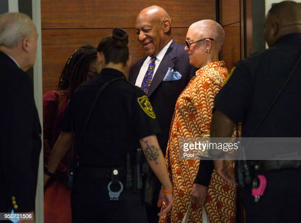 Camille Cosby and Bill Cosby arrive for his sexual assault trial April 24 2018 at the Montgomery County Courthouse in Norristown Pennsylvania A...