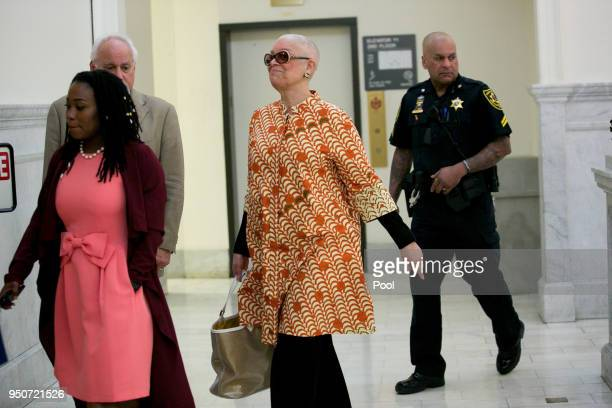 Camille Cosby arrives for her husband Bill Cosby's sexual assault trial April 24 2018 at the Montgomery County Courthouse in Norristown Pennsylvania...