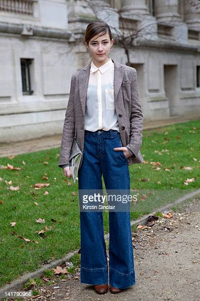 Camille Dubourdieu student wearing h and m shoes jacket bag and shirt cheap Monday jeans at Paris Fashion Week Autumn/Winter 2012 womenswear shows on...