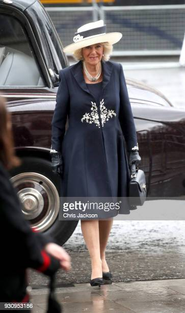 Camille Duchess of Cornwall attends the 2018 Commonwealth Day service at Westminster Abbey on March 12 2018 in London England