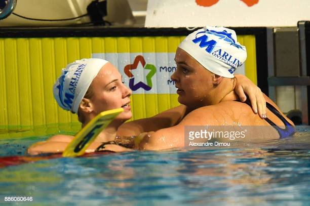 Camille Gheorghiu and Sharon Van Rouwendaal of Netherlands in Final 200m Backstroke of the French National Swimming Championships on December 3 2017...