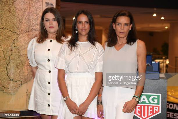 Camille Gotlieb Pauline Ducruet and Princess Stephanie of Monaco attend a visit to the Car Collection of Prince Albert of Monaco and inaugurate the...