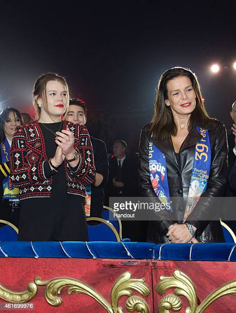 Camille Gottlieb and Princess Stephanie of Monaco attend the 39th International Monte Carlo Circus Festival on January 17 2015 in Monaco Monaco