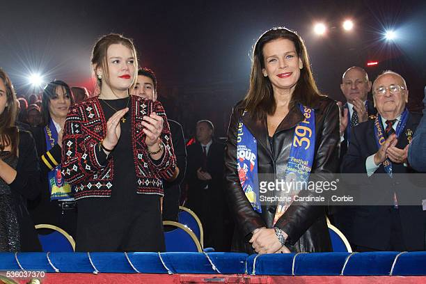 Camille Gottlieb and Princess Stephanie of Monaco attend the 39th International Circus Festival of MonteCarlo on January 17 2015 in Monaco