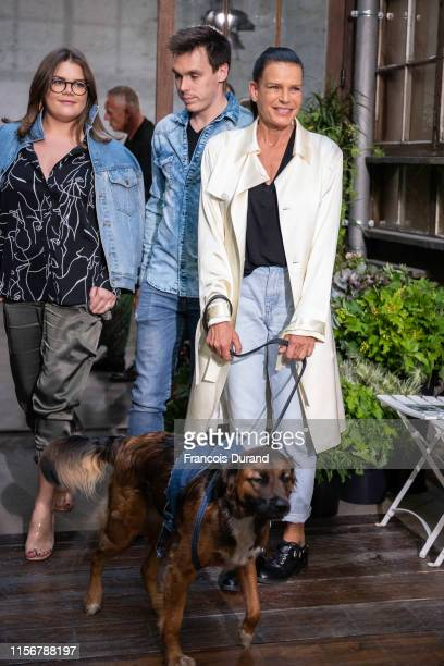 Camille Gottlieb, Louis Ducruet and Princess Stephanie of Monaco attend the Alter Design Menswear Spring Summer 2020 show as part of Paris Fashion...
