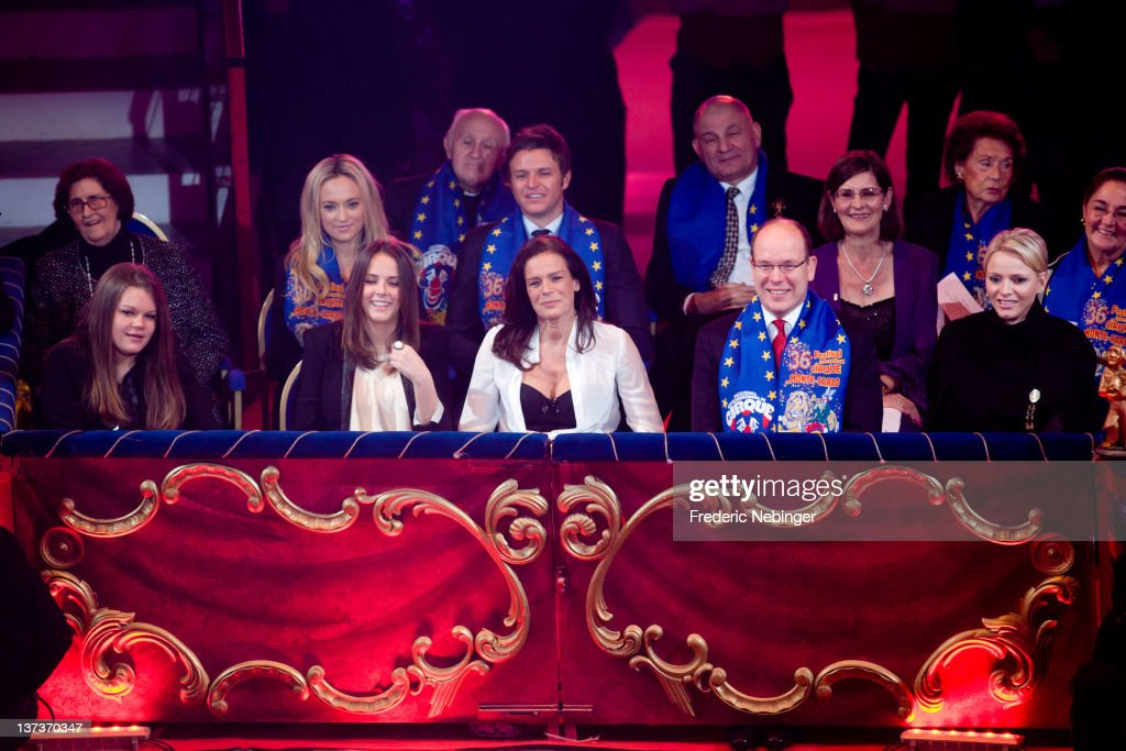 Camille Gottlieb, Pauline Ducruet, Princess Stephanie of Monaco, Princess Charlene of Monaco and Prince Albert II of Monaco attend the opening of Monte-Carlo 36th International Circus Festival on January 19, 2012 in Monte-Carlo, Monaco.