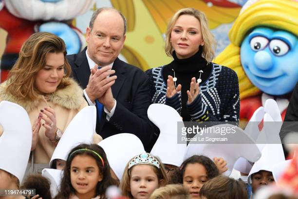 Camille Gottlieb, Prince Albert II of Monaco and Princess Charlene of Monaco attend the Christmas Gifts Distribution At Monaco Palace on December 18,...