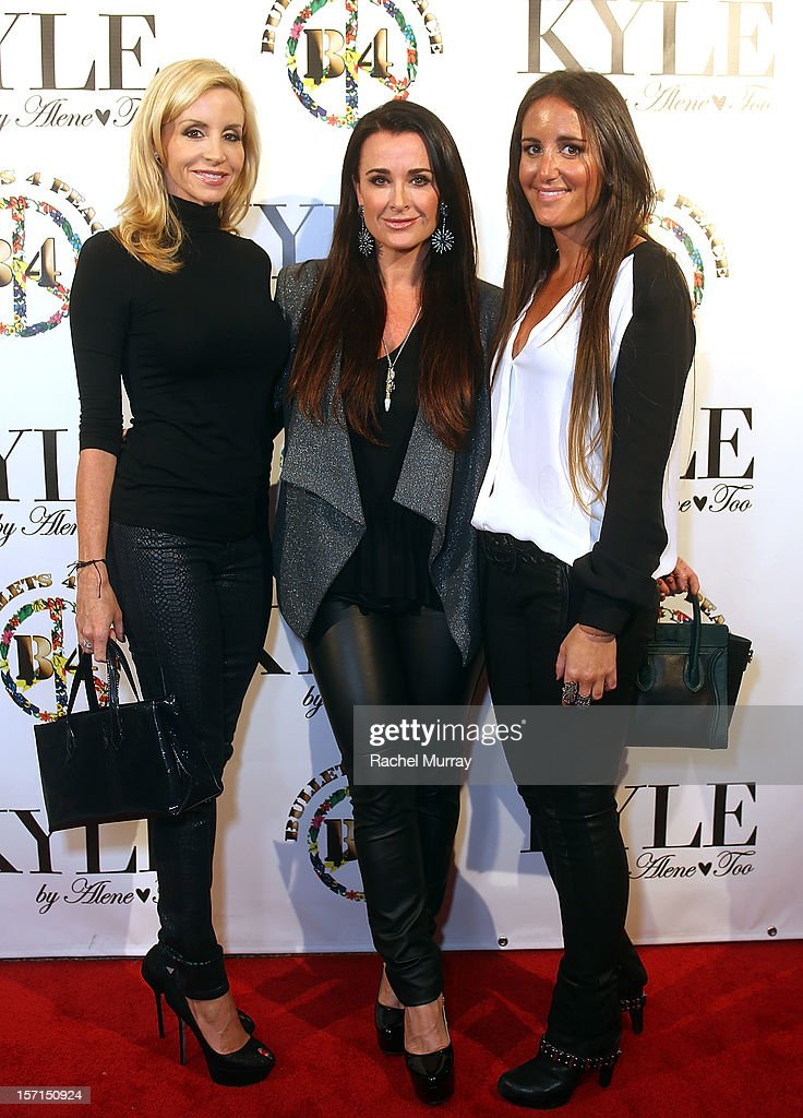 Camille Grammer, Alene Too founders Kyle Richards and Lizzy Schwartz attend Kyle By Alene Too holiday shopping event featuring Bullets For Peace benefiting Safe Passage Charity on November 28, 2012 in Beverly Hills, California.