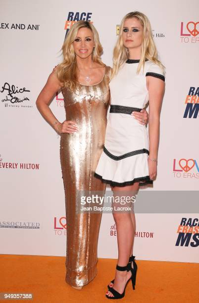 Camille Grammer and Mason Grammer attend the 25th Annual Race To Erase MS Gala at The Beverly Hilton Hotel on April 20 2018 in Beverly Hills...