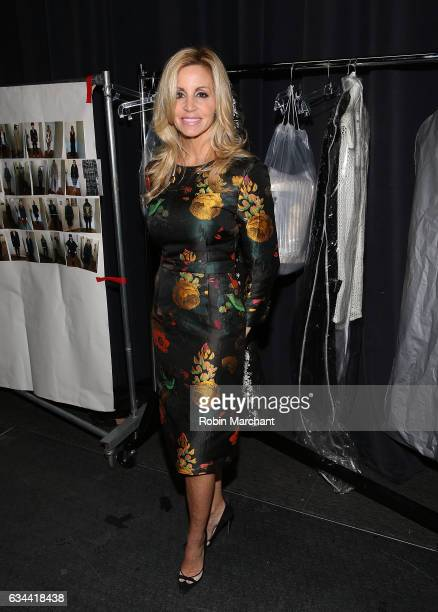 Camille Grammer poses backstage at Malan Breton during New York Fashion Week at The Theater at Madison Square Garden on February 9 2017 in New York...