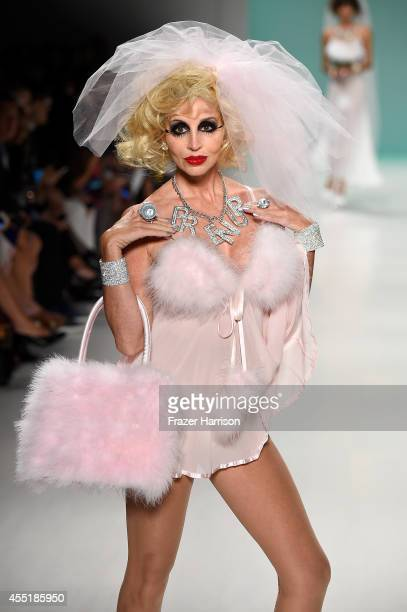 Camille Grammer walks the runway at the Betsey Johnson fashion show during MercedesBenz Fashion Week Spring 2015 at The Salon at Lincoln Center on...