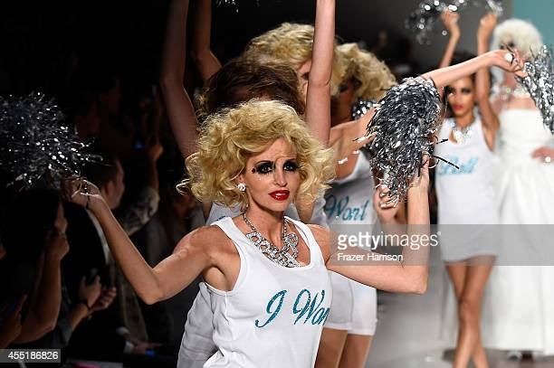 Camille Grammer walks the runway at the Betsey Johnson fashion show during Mercedes-Benz Fashion Week Spring 2015 at The Salon at Lincoln Center on...