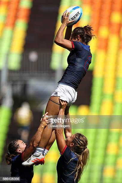 Camille Grassineau of France catches the ball during a Women's Pool B rugby match between France and Spain on Day 1 of the Rio 2016 Olympic Games at...