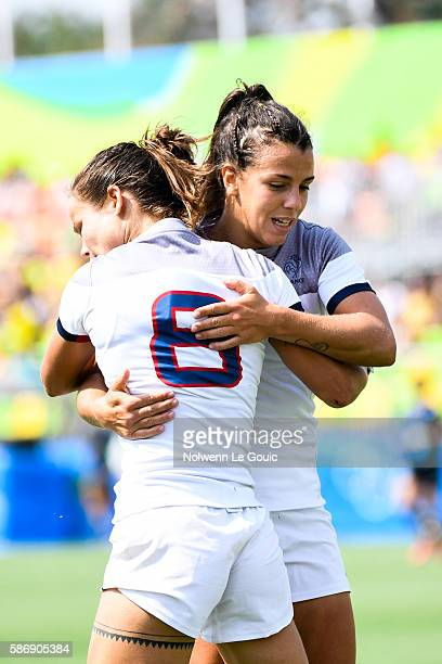 Camille Grassineau of France celebrate her try during Rugby Seven on Olympic Games 2016 in Rio at Deodoro Stadium on August 7 2016 in Rio de Janeiro...