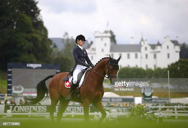 Camille Guyot of Switzerland competes on Larnac de Vulbens in the dressage during the Longines FEI European Eventing Championship 2015 at Blair...