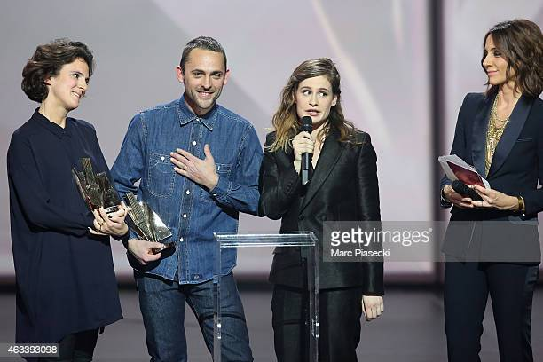 Camille Hirigoyen Julien Choquart and Heloise Letissier aka Christine and the Queens receive the video clip award for 'Saint Claude' during the 30th...