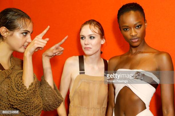 Camille Hurel Kiki Willems and Mayowa Nicholas are seen backstage ahead of the Alberta Ferretti show during Milan Fashion Week Spring/Summer 2018on...