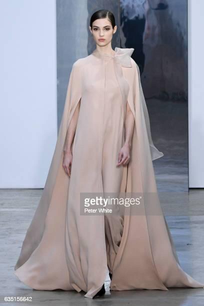 Camille Hurel walks the runway at Carolina Herrera show during New York Fashion Week on February 13, 2017 in New York City.