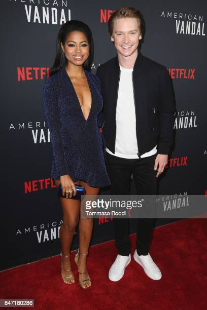 Camille Hyde and Calum Worthy attend the premiere of Netflix's 'American Vandal' at ArcLight Hollywood on September 14 2017 in Hollywood California