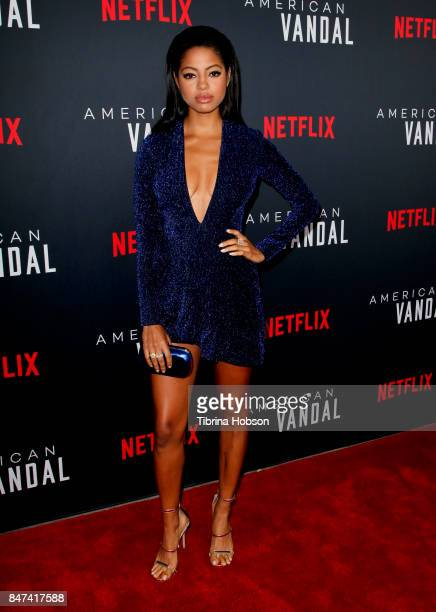 Camille Hyde attends the premiere of Netflix's 'American Vandal' at ArcLight Hollywood on September 14 2017 in Hollywood California