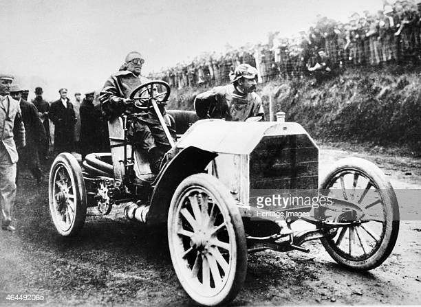 Camille Jenatzy in his 60 hp Mercedes winner of the Gordon Bennett Race Athy Ireland 1903 This car was one of the fastest of its day being capable of...