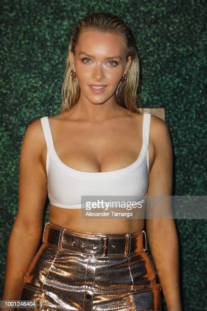 Camille Kostek attends the 2018 Sports Illustrated Swimsuit show at PARAISO during Miami Swim Week at The W Hotel South Beach on July 15 2018 in...