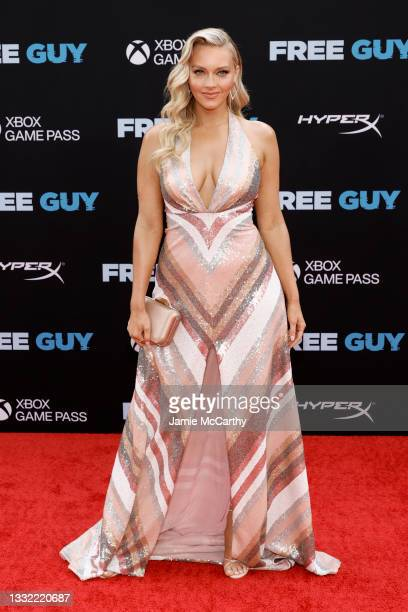 """Camille Kostek attends the """"Free Guy"""" New York Premiere at AMC Lincoln Square Theater on August 03, 2021 in New York City."""