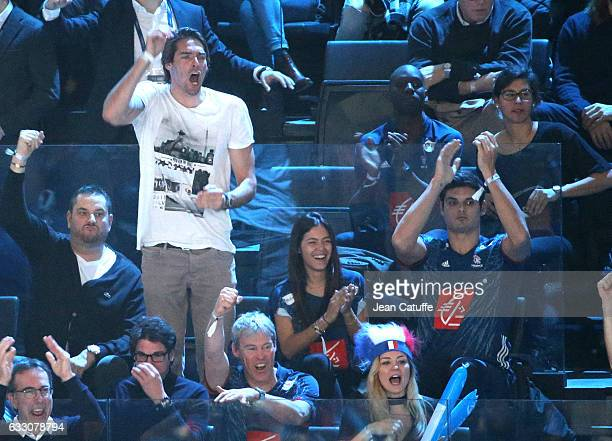 Camille Lacourt Florent Manaudou and Ambre Baker attend the 25th IHF Men's World Championship 2017 Final between France and Norway at Accorhotels...