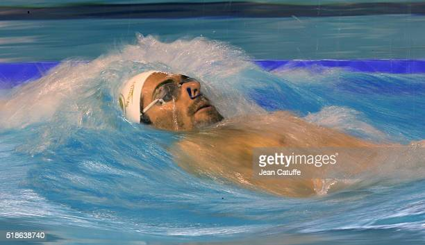 Camille Lacourt of France warms up during day 4 of the French National Swimming Championships at Piscine Olympique d'Antigone on April 1 2016 in...