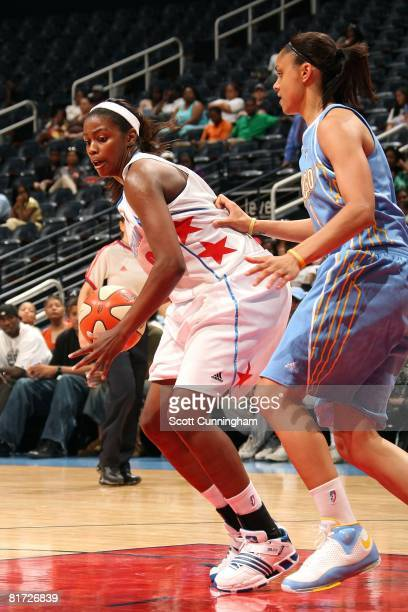 Camille Little of the Atlanta Dream goes up against Candice Dupree of the Chicago Sky during the WNBA game on June 6 2008 at Philips Arena in Atlanta...