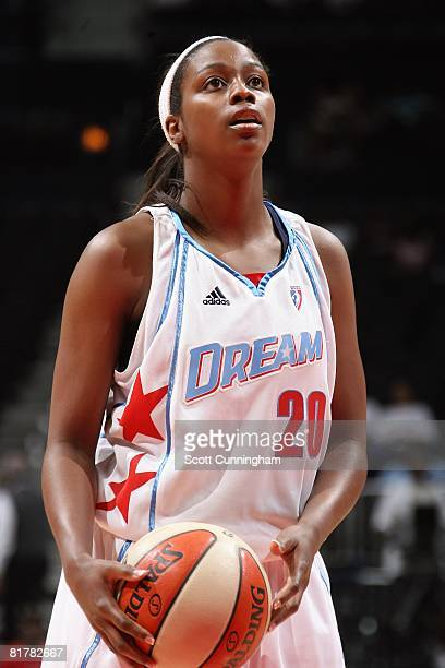 Camille Little of the Atlanta Dream shoots a free throw against the San Antonio Silver Stars during the WNBA game on June 18 2008 at Philips Arena in...