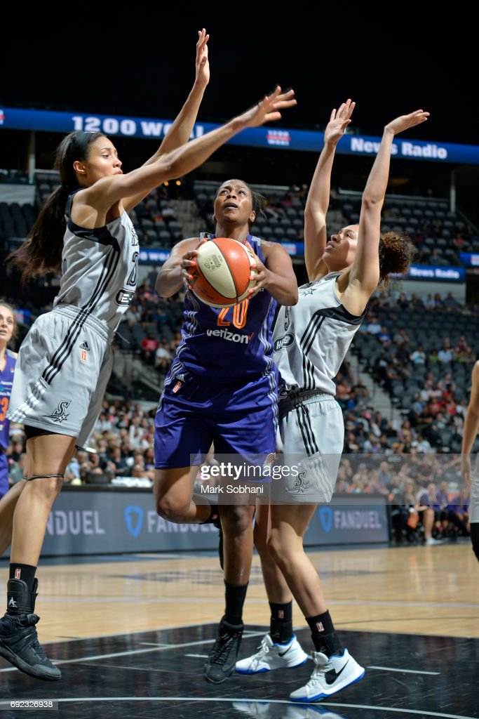 Camille Little #20 of the Phoenix Mercury goes to the basket against the San Antonio Stars on May 19, 2017 at AT&T Center in San Antonio, Texas.