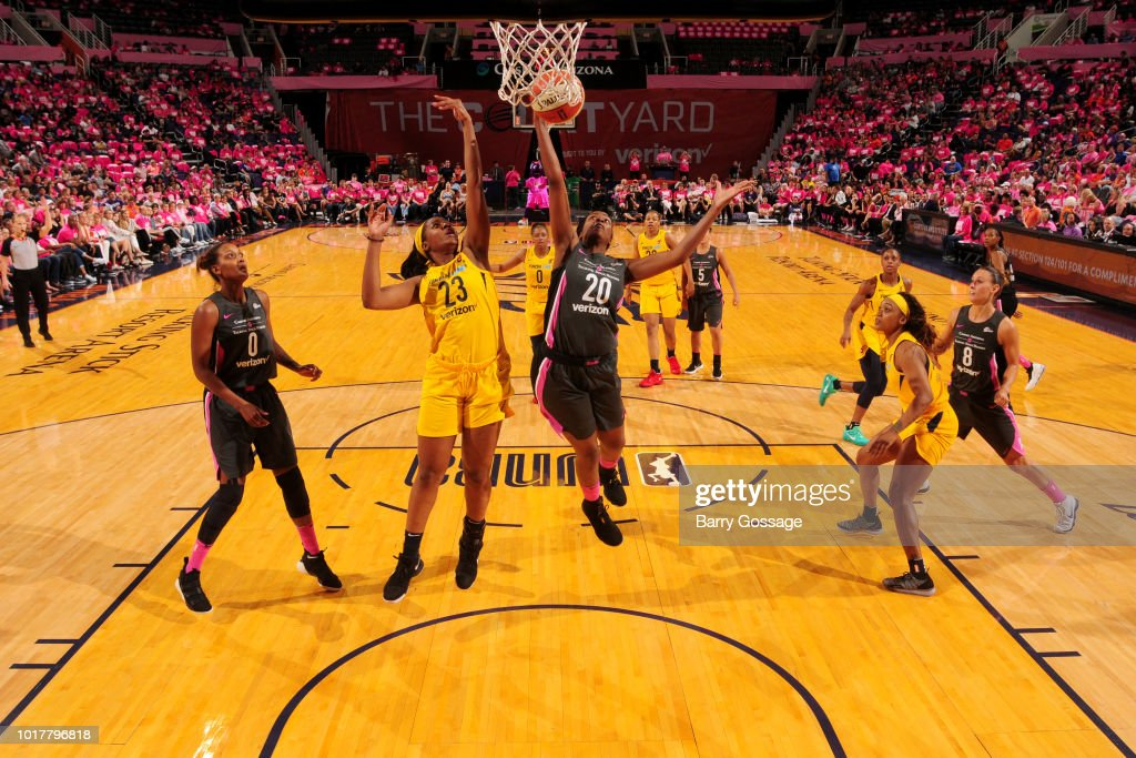 Camille Little #20 of the Phoenix Mercury grabs the rebound against the Indiana Fever on August 10, 2018 at Talking Stick Resort Arena in Phoenix, Arizona.