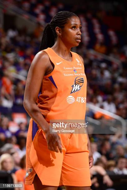 Camille Little of the Phoenix Mercury looks on during the game against the Washington Mystics on August 4 2019 at Talking Stick Resort Arena in...