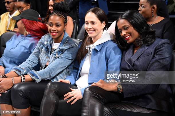 Camille Little Sue Bird and Swin Cash pose for a photo during the 2019 Taco Bell Skills Challenge as part of the State Farm AllStar Saturday Night on...