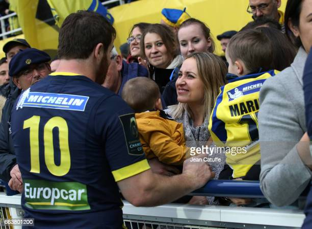 Camille Lopez of ASM Clermont celebrates with his wife Marina Lopez and their sons Victor and Marius the victory following the European Rugby...