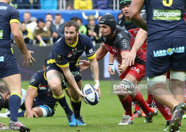 Camille Lopez of ASM Clermont Juandre Kruger of RC Toulon in action during the European Rugby Champions Cup quarter final match between ASM Clermont...